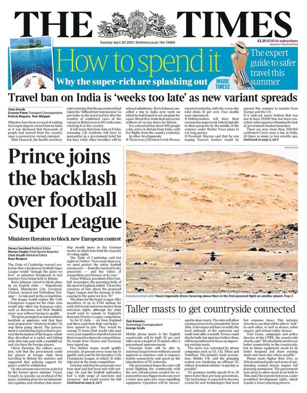 The Times front page 20.04.21