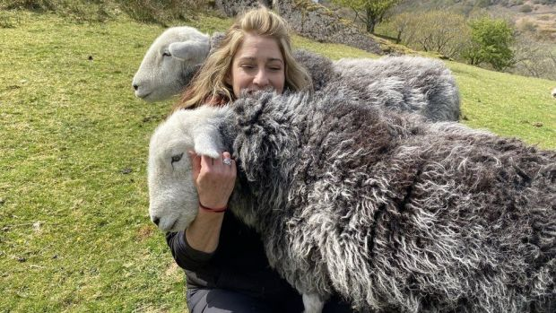 Jo with two sheep