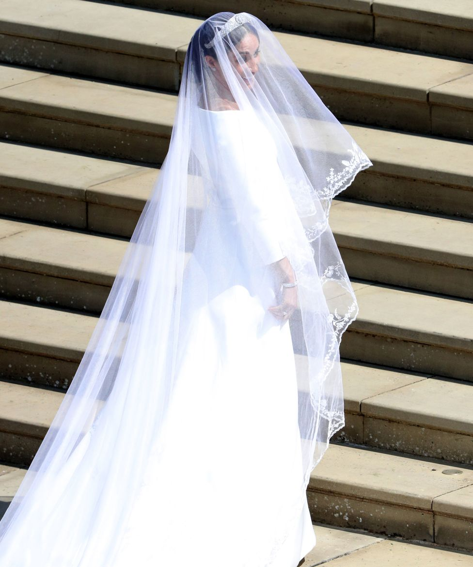 "Meghan Markle arrives for the wedding ceremony to marry Prince Harry at St George""s Chapel, Windsor Castle"
