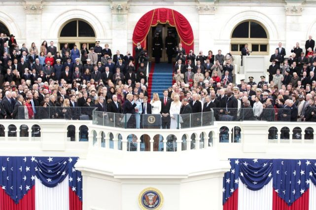 President Donald Trump takes the oath of office from Supreme Court Chief Justice John Roberts on the West Front of the U.S. Capitol on 20 January 2017 in Washington, DC. In today's inauguration ceremony Donald J Trump becomes the 45th president of the United States.