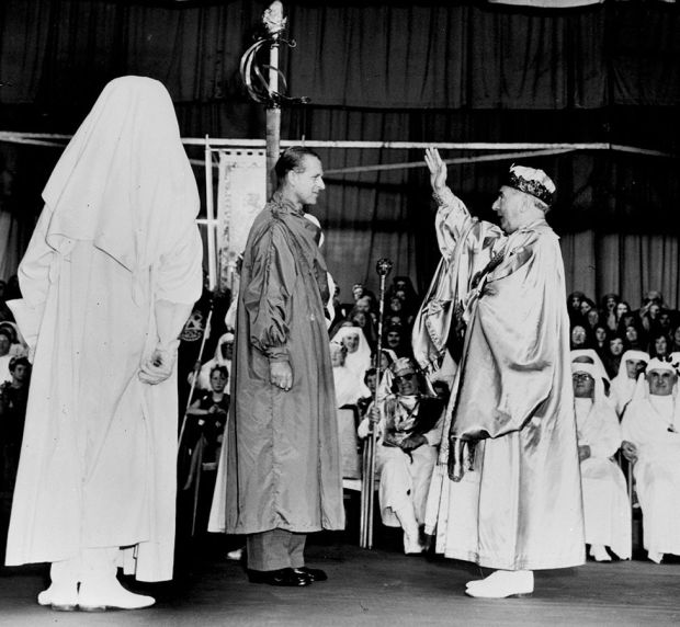 Prince Philip was given his Welsh bardic title 'Philip Meirionnydd' by the Archdruid of Wales at the National Eisteddfod in Cardiff, 1960