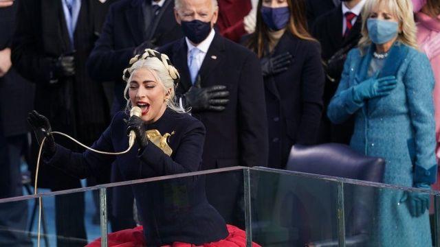Lady Gaga performs the Star Spangled Banner at Joe Biden inauguration day