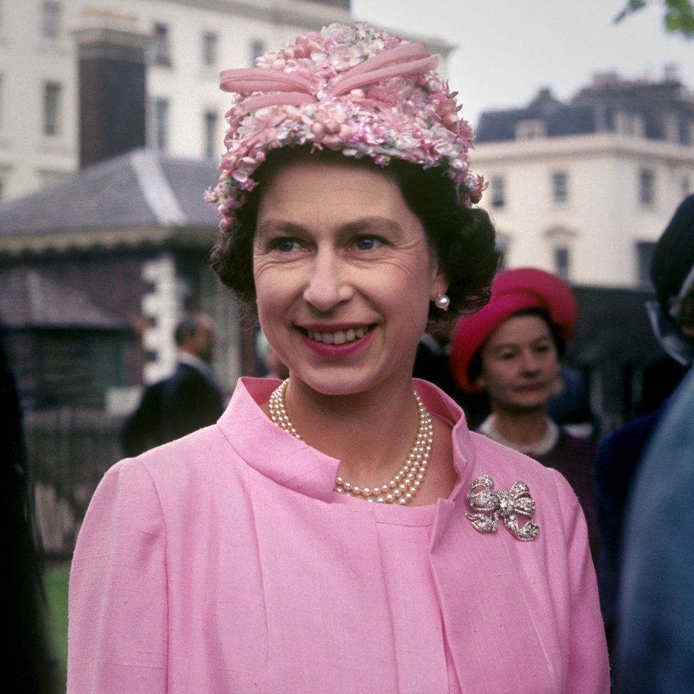 Queen Elizabeth II at the garden party in the grounds of the Royal Hospital, Chelsea, London