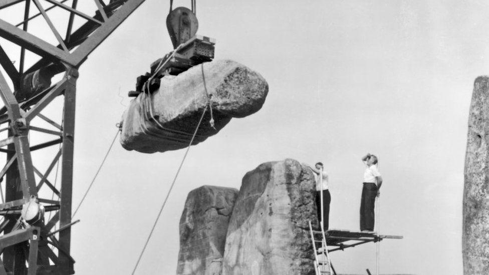 Stonehenge repairs in the 1950s