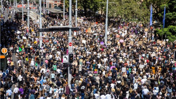 Aerial shot of the March4Justice crowd in Sydney