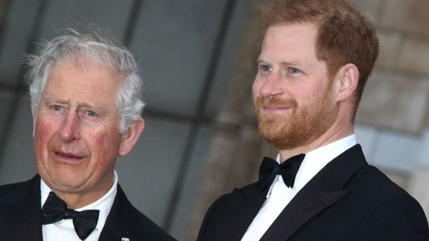 Prince Harry with Prince Charles at the World Premiere of Netflix's Our Planet at the Natural History Museum, Kensington, in April 2019