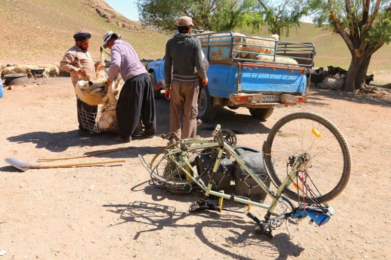 A puncture in the Iranian mountains