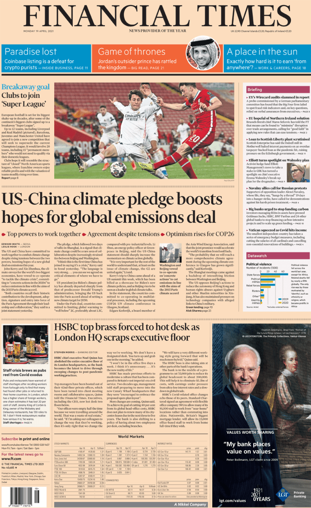 The Financial Times front page 19 April 2021