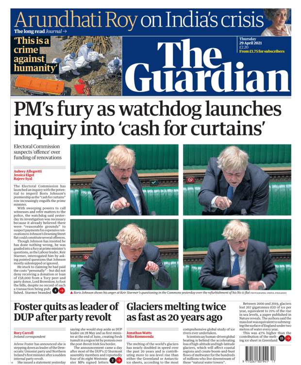 The Guardian front page 29 April 2021