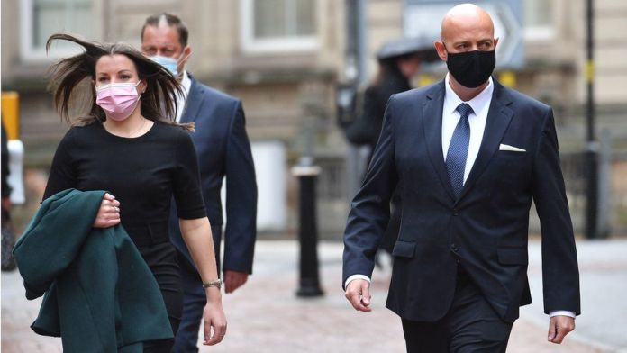 West Mercia Police Constables Benjamin Monk (right) and Mary Ellen Bettley-Smith (left) arrive at Birmingham Crown Court to stand trial