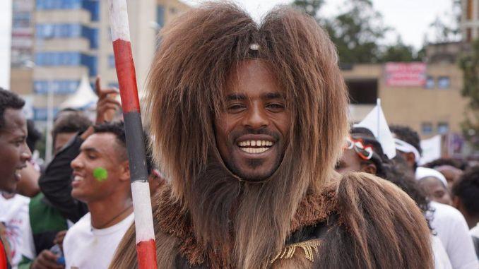 Man in traditional Oromo costume in Ethiopia - October 2019