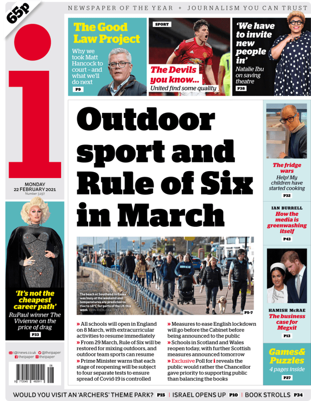The i front page 22 February 2021