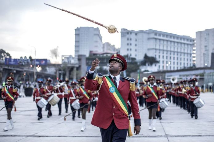 A drum major of Ethiopia's Republican March Band throws his baton in Addis Ababa, Ethiopia - Sunday 8 August 2021