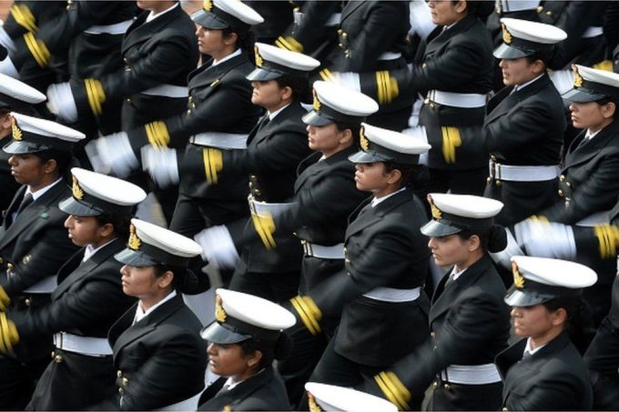 Indian Navy women contingent march in formation down Rajpath during the full Republic Day Dress rehearsal in New Delhi on January 23, 2015.