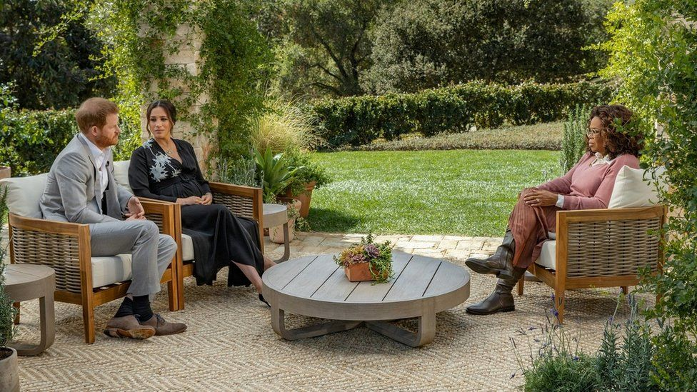 Prince Harry and Meghan, Duchess of Sussex, being interviewed by Oprah Winfrey