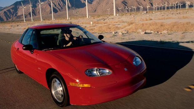 General Motors' environmentally friendly electric car, the EV1, January 1998