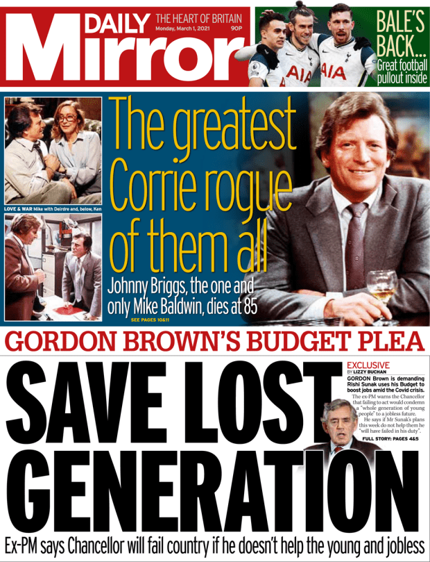 The Daily Mirror front page 1 March 2021