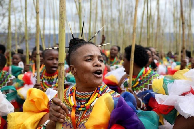 Zama Msomi, 36, from KwaMashu leads her group of women during the annual Reed Dance at Enyokeni Royal Palace in Nongoma, South Africa - 7 September 2019