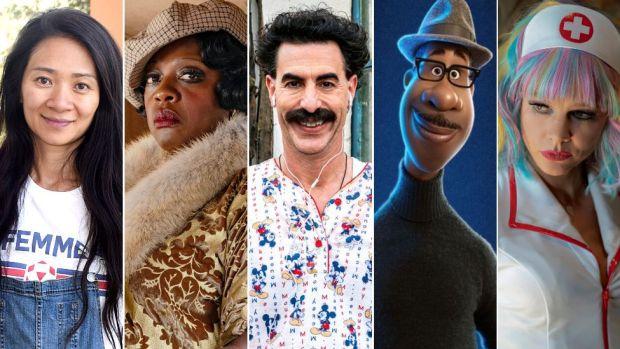 Chloe Zhao, Viola Davis as Ma Rainey, Sacha Baron Cohen as Borat, Joe Gardner voiced by Jamie Foxx, and Carey Mulligan as Cassie Thomas