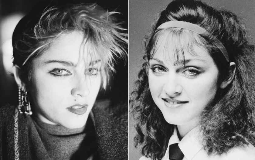 Madonna modelling shoots 1982 on the left and 1978 on the right