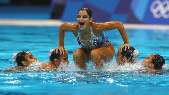 Team Egypt compete in the Artistic Swimming Team Free Routine at the Tokyo Aquatics Centre in Tokyo, Japan - Saturday 7 August 2021
