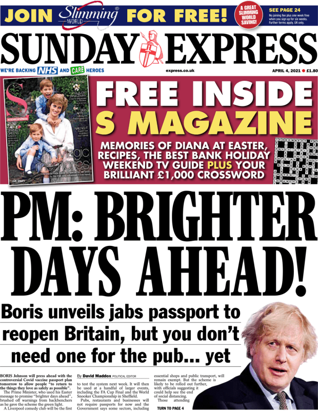 Sunday Express front page 4 April 2021