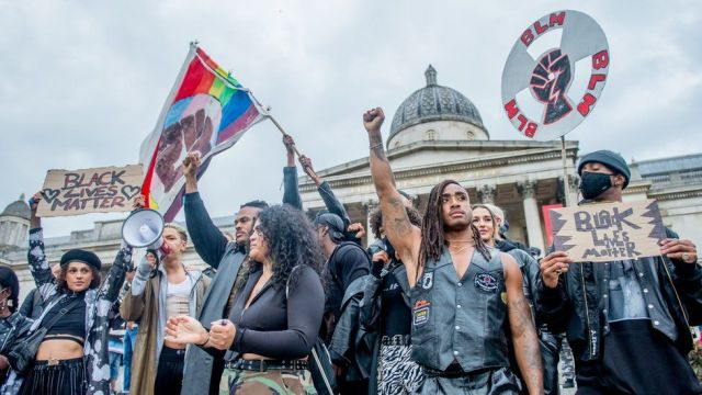 Black Lives matter protesters in Trafalgar Square