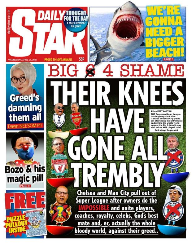 Daily Star front page 21.04.21