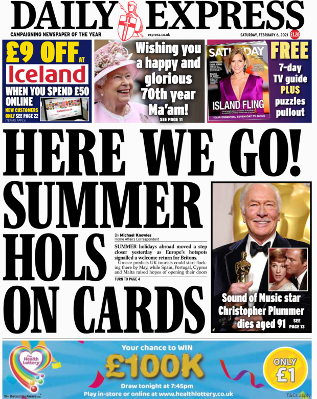 Daily Express front page 06/02/21