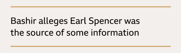 Text box: Bashir alleges Earl Spencer was the source of some information
