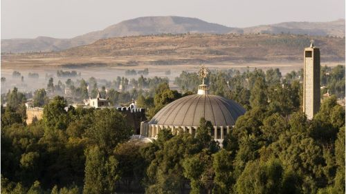 An aerial view of Our Lady Mary of Zion Church and Aksum in Ethiopia