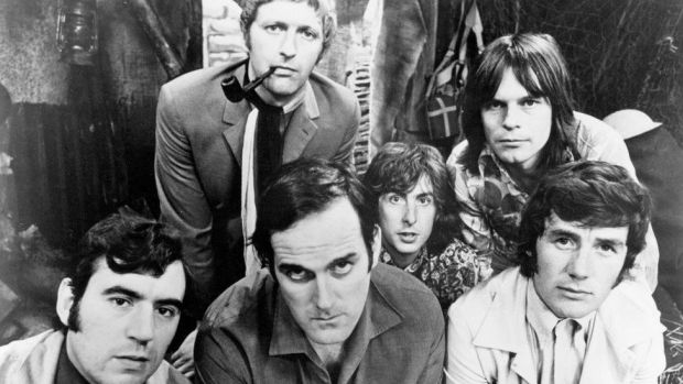 The six members of the Monty Python team, 1969. Left to right: Terry Jones, Graham Chapman (1941 - 1989), John Cleese, Eric Idle, Terry Gilliam and Michael Palin