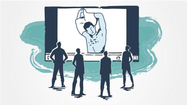 Ilustración de un hombre en una webcam.