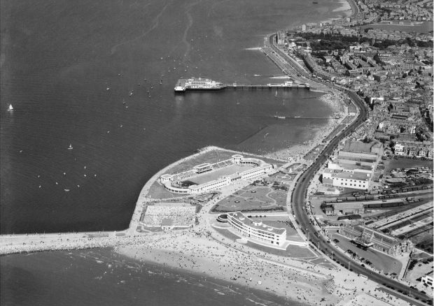 An aerial view of The Midland Hotel, Swimming Stadium and Central Pier in Morecambe, Lancashire, taken in August 1949