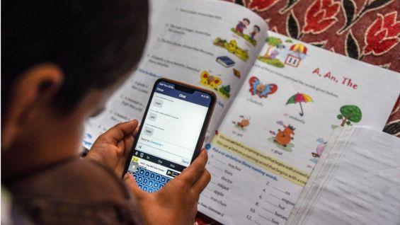 A student attends an online voice class
