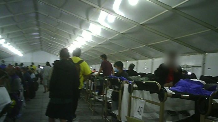 Image from inside one of the tents
