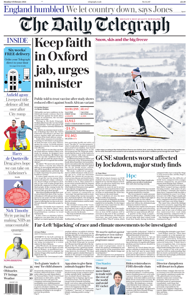 Telegraph front page 08/02/21
