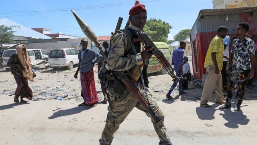 Somali military officer supporting opposition leaders walks along streets of Yaqshid district of Mogadishu, Somalia April 25, 2021