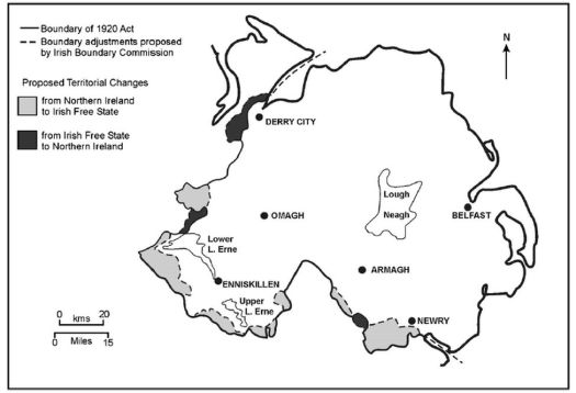 Map illustrating Boundary Commission proposals for a redrawn Irish border in 1925