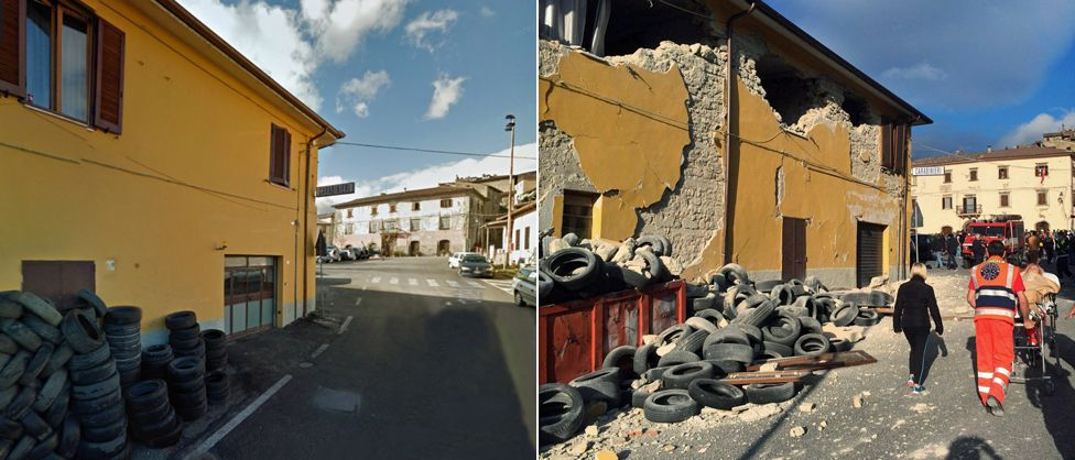 A building in the centre of Accumoli before and after the earthquake - 24 August 2016