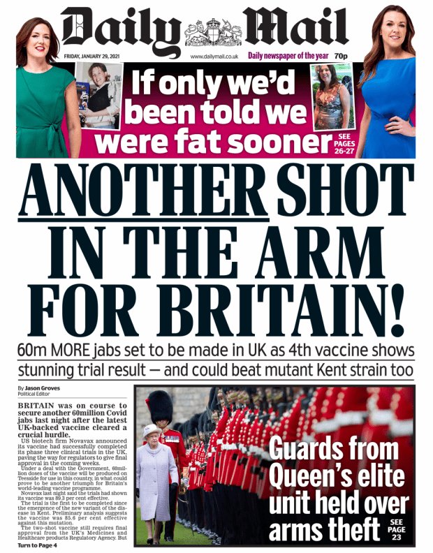 Daily Mail front page 29/01/21