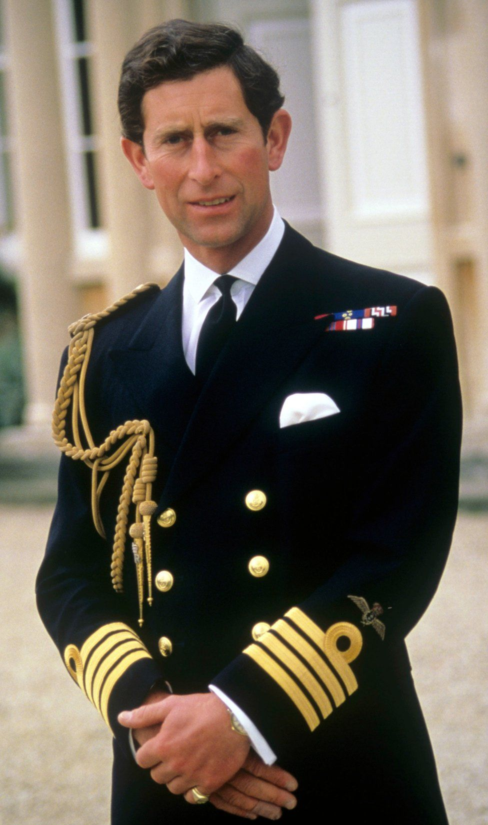 Prince of Wales wearing his new Royal Navy captain's uniform