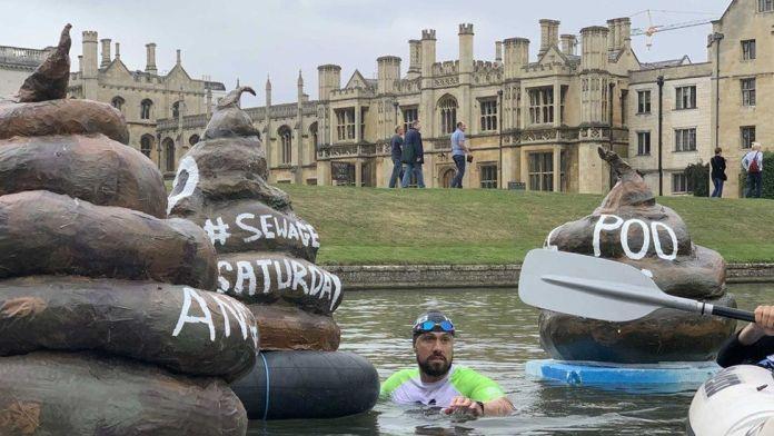 Poo models floating in river