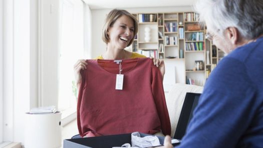Woman holding a new top