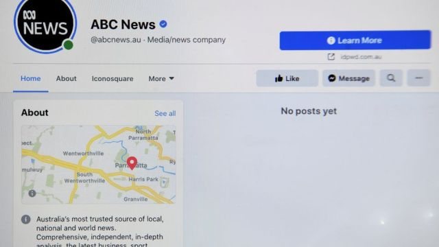 The ABC News Facebook page was affected by Facebook's action on 18 February