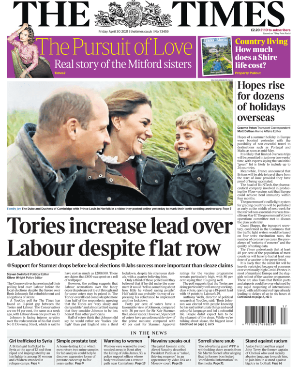 The Times front page 30 April 2021