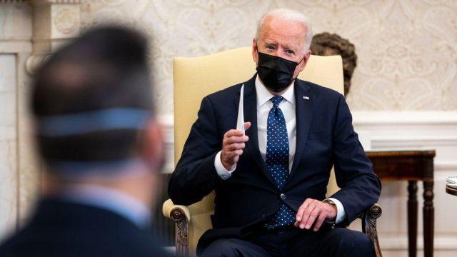 Biden speaks to press