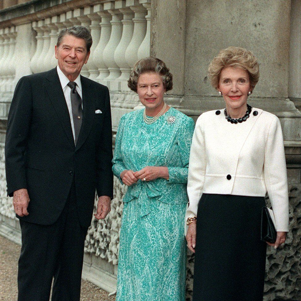 Queen Elizabeth II (centre) with US President Ronald Reagan and his wife Nancy at Buckingham Palace in London. The Queen and the former film star shared a love of horses and were once pictured riding together at Windsor.