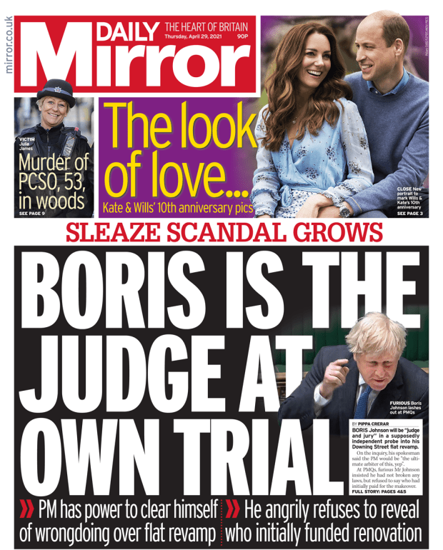 Daily Mirror front page 28 April 2021