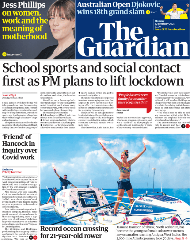 The Guardian front page 22 February 2021